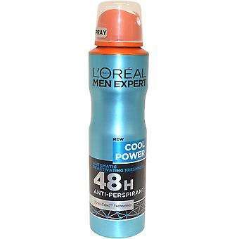 Experto en hombres por l ' Oreal Anit Spray Perspirant 48h 150ml Cool poder