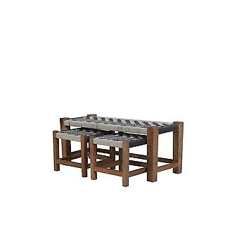 Juego de sofás de luz y vida de 3 Max 99x40x43cm Pheda gris-blanco-madera natural