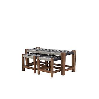 Licht-wit-hout set van 3 Max 99x40x43cm Pheda Grijs-Wit-Hout Natural