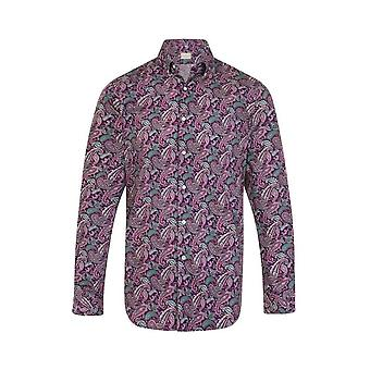 JSS Paisley Purple Regular Fit 100% Cotton Shirt