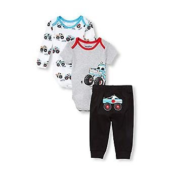 The Children's Place Baby Boys 3 Pack Noutate imprimate Bodysuit Set, Negru, 0-...