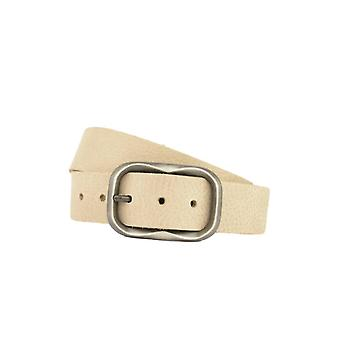 Simple Taupe Women's Belt With Vintage Oval Buckle
