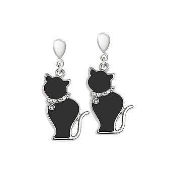 Eternal Collection Tabby Black Enamel Silver Tone Cat Drop Clip On Earrings