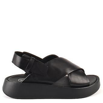 Ash VERDI Black Leather Flatform Sandals