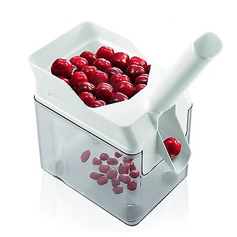 Cherry Pitter With Slanted Chute And Large Core Cassette Height: 30cm - White - Fast Efficient Durable Kitchen Gadget