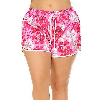 Womens Plus Size Tropical Print Board Shorts Swimwear Swim Trunk Bottoms