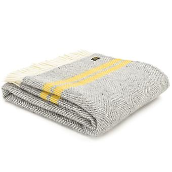 Tweedmill Pure New Wool Fishbone 2 Stripe Grey & Yellow Throw