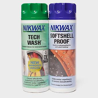 NIKWAX Tech Wash & Softshell Proofer Twin Pack 300ml Wasserdichter Schutz Grün