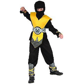 Déguisement ninja jaune plastron garçon