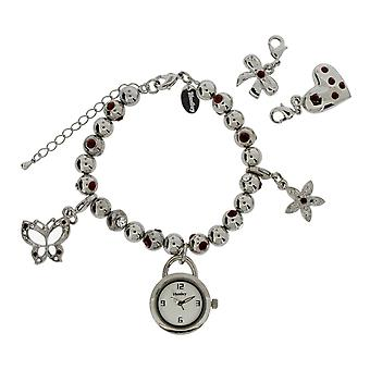 Henley Glamour Red Crystal Ball Bead Bracelet Ladies Watch H07135.10