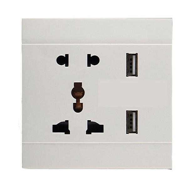 I LumoS White 5 Pin Multi Plug Socket & USB Phone Charger Single Wall Socket