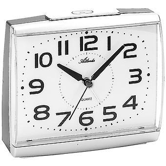 Atlanta 1919/19 herätyskello kvartsi analoginen silver hiljaa ilman tikittää valoa Snooze