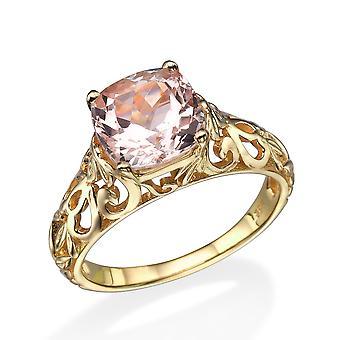 Natürliche 2,00 CT Pfirsich/Pink VS Morganit Ring 14k Gelb Gold Vintage Art-Deco-Rebe
