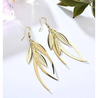 Boucles d'oreilles de plumes de pendaison en or ou argent pour la femme