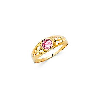 14k Sárga Arany Fiúk és Lányok október születésnapi gyűrű mérete 3 - 0,7 gramm