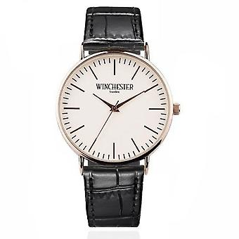 watch with black leather strap. Unisex wristwatches
