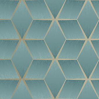 Papier peint géométrique texturé Sarcelle Rasch 310627