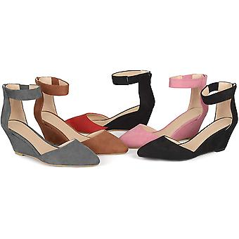 Journee Collection Womens Faux Suede Ankle Strap Pointed Toe Wedges Grey, 10 ...
