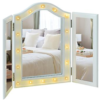 HOMCOM Trifold Freestanding Mirror, Lighted Tabletop Vanity Mirror Large Cosmetic w/16 LED Lights powered by batteries Foldable For Bedroom- White