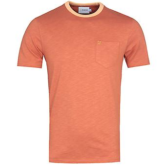 Farah Groove Contrast Collar Orange Marl T-Shirt