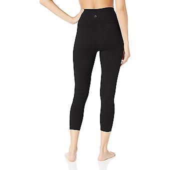 "Core 10 Mujeres's Standard Yoga Foldover High Waist 7/8 Crop Legging-24"", Negro M (8-10)"