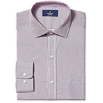 KNAPPET NED Menn's Klassisk Passform Spread-Collar Non-Iron Dress Skjorte, Bær /Rød...