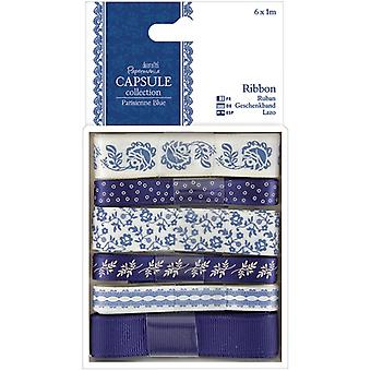 Papermania Parisienne Blue Ribbon-6 Styles/1m Each