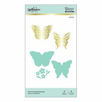 Spellbinders glitrende sommerfugler varm folie plate