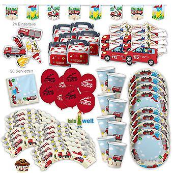 Feuerwehr Party Set XL 93-teilig für 6 Gäste Feuerwehrparty Alarm Party Deko Partypaket