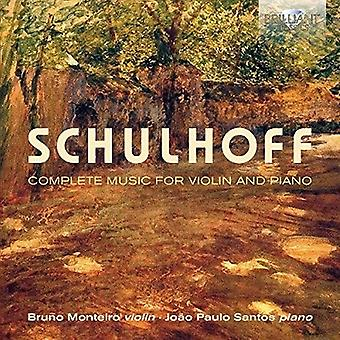 Schulhoff / Monteiro, Bruno / Santos, Joao Paulo - Schulhoff: Complete Music for Violin & Piano [CD] USA import
