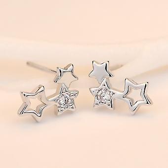 Triple Star Climbing Stud Earrings