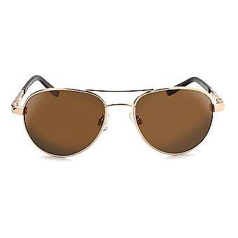 Siren - compact polarized aviator sunglasses  gold / green