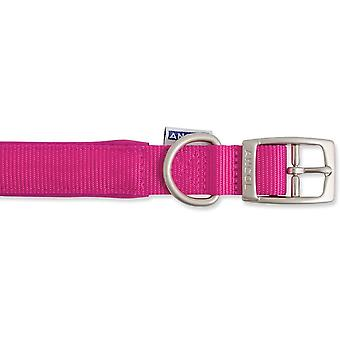 Ancol Heritage Nylon Padded Collar - Raspberry - 25mm x 45- 54cm (Size 6)