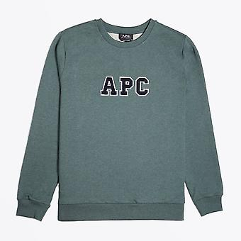 A.P.C.  - Malcolm - Collage Logo Sweater - Green Marl