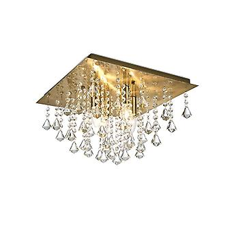 Inspiriert Deco - Acton - Flush Decke 4 Licht E14, 380mm Platz, antike Messing, Prisma Kristall