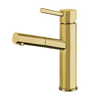 Waterhaus Lead-Free Solid Stainless Steel, Single Hole, Single Lever Kitchen Faucet With Pull-Out Spray Head - Brass