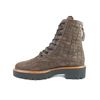 Paul Green 9598-03 Brown Croco Textured Suede Leather Womens Ankle Boots