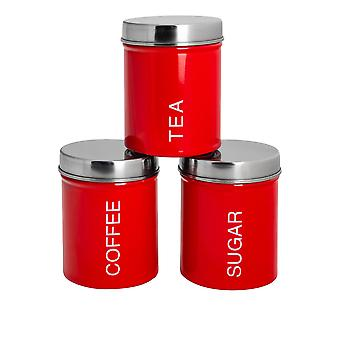 3 Peça Contemporary Tea Coffee Coffee Sugar Canister Set - Aço Kitchen Storage Caddy with Rubber Seal - Vermelho