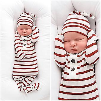 طفل حديث الولادة الفتيات مخطط النوم كيس Swaddle بطانية مع قبعة