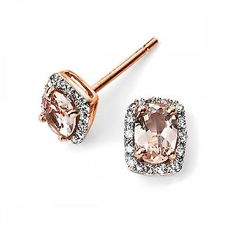 Elements Gold Elements 9ct Rose Gold Diamond And Morose Goldanite Earrings GE2026P