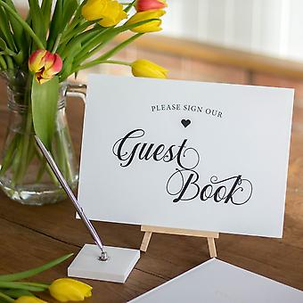 Sign Our Guestbook A4 Sign | Landscape Wedding Venue Decoration with Easel