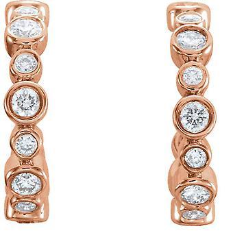 3/8CT Diamond Vintage Obręcze 14k Różowe złoto 1/2&; wysoki