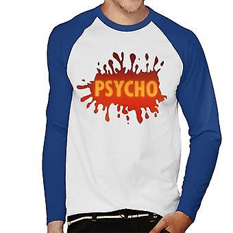 Psycho Splatter Logo Men''s Baseball Long Sleeved T-Shirt
