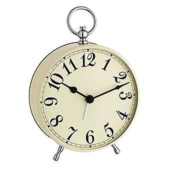 Blooming Weather Quartzclock-Vintage-Look Alarm Clock, Beige, 12.3 x 7.2 x 16 cm