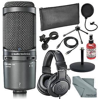 Audio-technica at2020usb+ cardioid condenser usb mac & windows compatible microphone bundle with headphones + sanitizer + cable