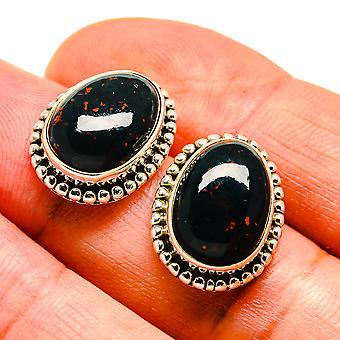 """Boucles d'oreilles Bloodstone 3/4"""" (925 Sterling Argent) - Bijoux boho vintage à la main EAR408055"""
