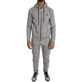 Pantaloni pulover din bumbac gri trac54572631