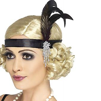 Adult Women's Satin Charleston Headband with Feather and Jewel Design 2Pack