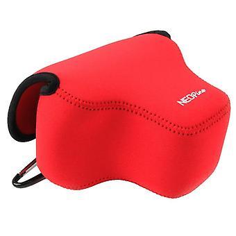 NEOpine Neopreeni Iskunkestävä pehmeä kotelolaukku koukulla Canon SX60 -kameralle (punainen)