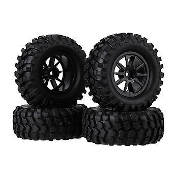 4pcs Plástico Preto 10-Spoke Roda Aro & Simulação pneu para RC 1:10 Rock Crawler